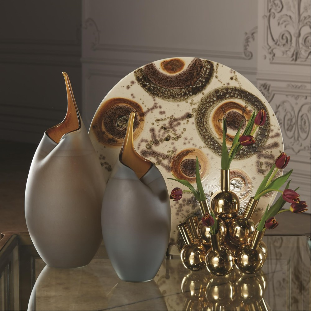 Global Views - Frosted Grey Vase with Amber Casing, Small