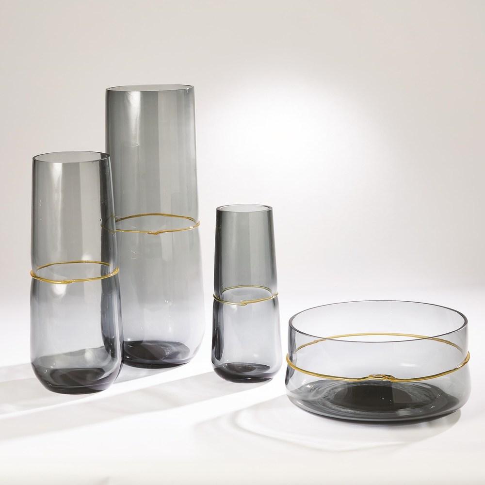 Global Views - Ribbon Wrapped Vase, Grey, Small