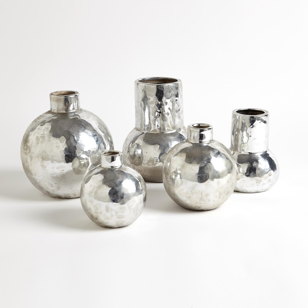 Global Views - Hammered Ceramic Orb Vase, Silver, Large