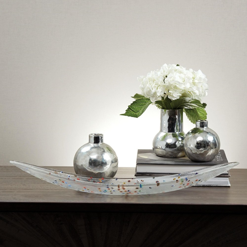 Global Views - Hammered Ceramic Orb Vase, Silver, Medium
