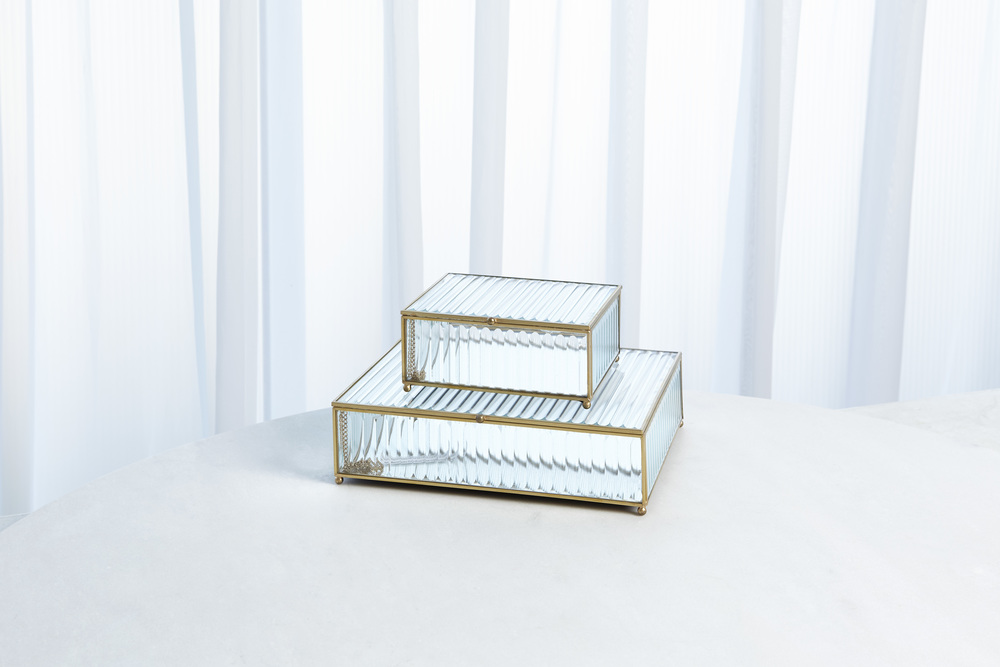 Global Views - Reeded Glass Box, Clear, Large