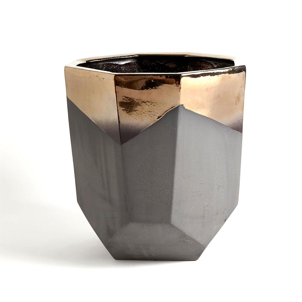 GLOBAL VIEWS - Faceted Banded Bronze Container, Large