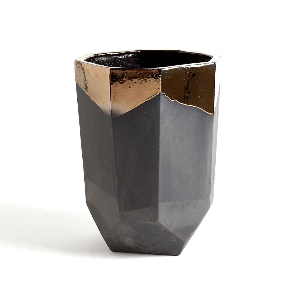 Global Views - Faceted Banded Bronze Container, Medium