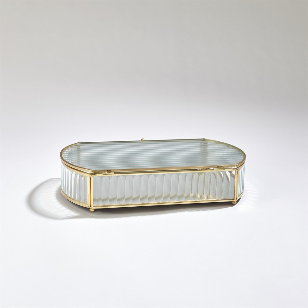 Global Views - Reeded Glass Oval Box, Large
