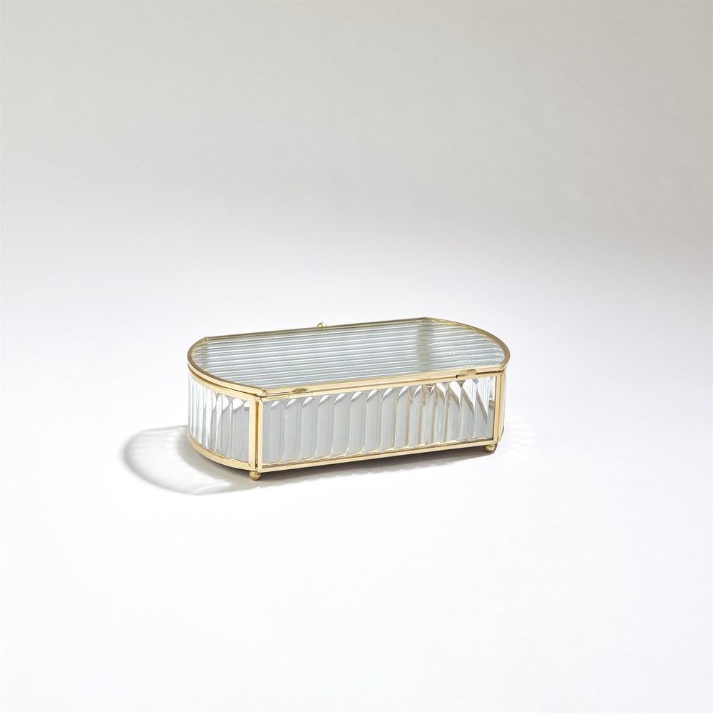 GLOBAL VIEWS - Reeded Glass Oval Box, Small