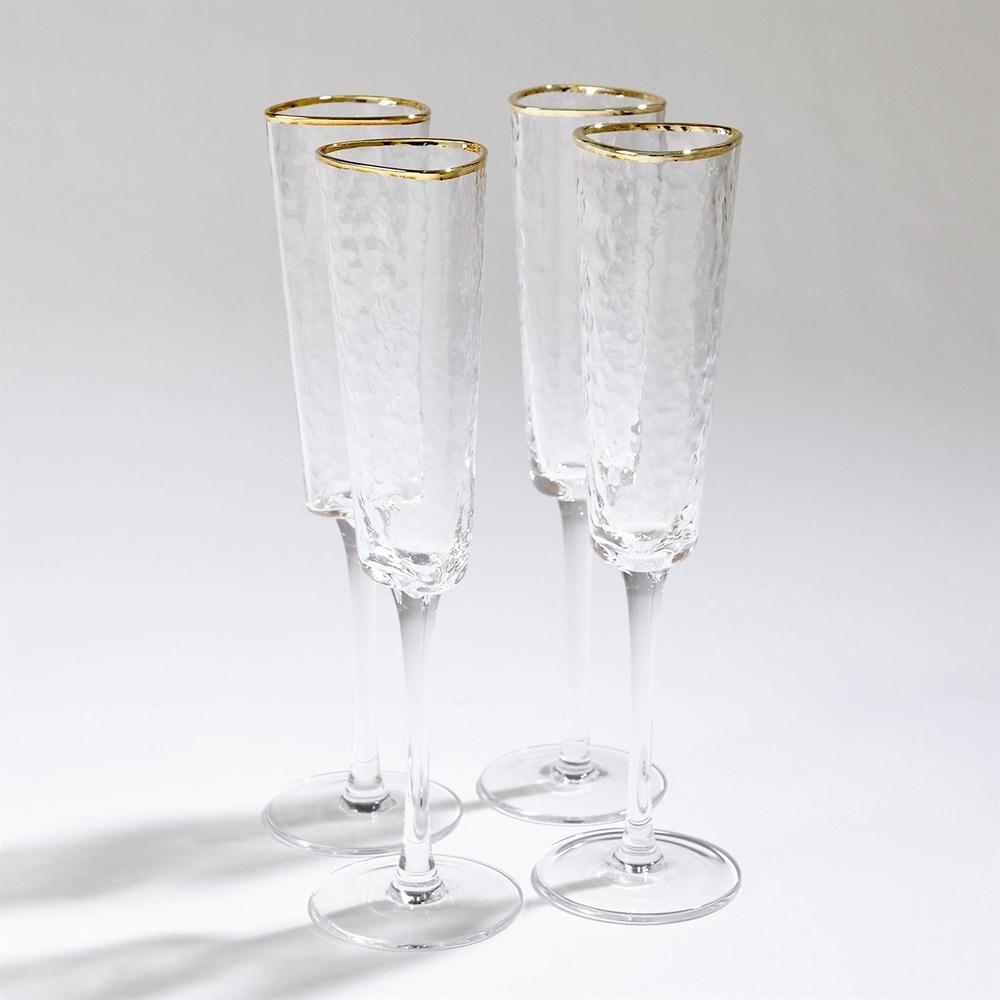 Global Views - Hammered Champagne Glasses, Set/4