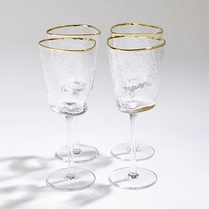 Thumbnail of Global Views - Hammered Footed Wine Glasses, Set/4