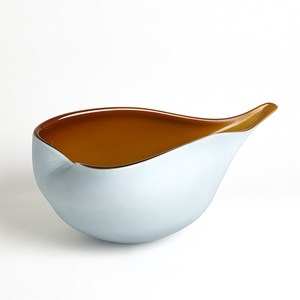 Thumbnail of Global Views - Frosted Blue Bowl with Amber Casing, Large