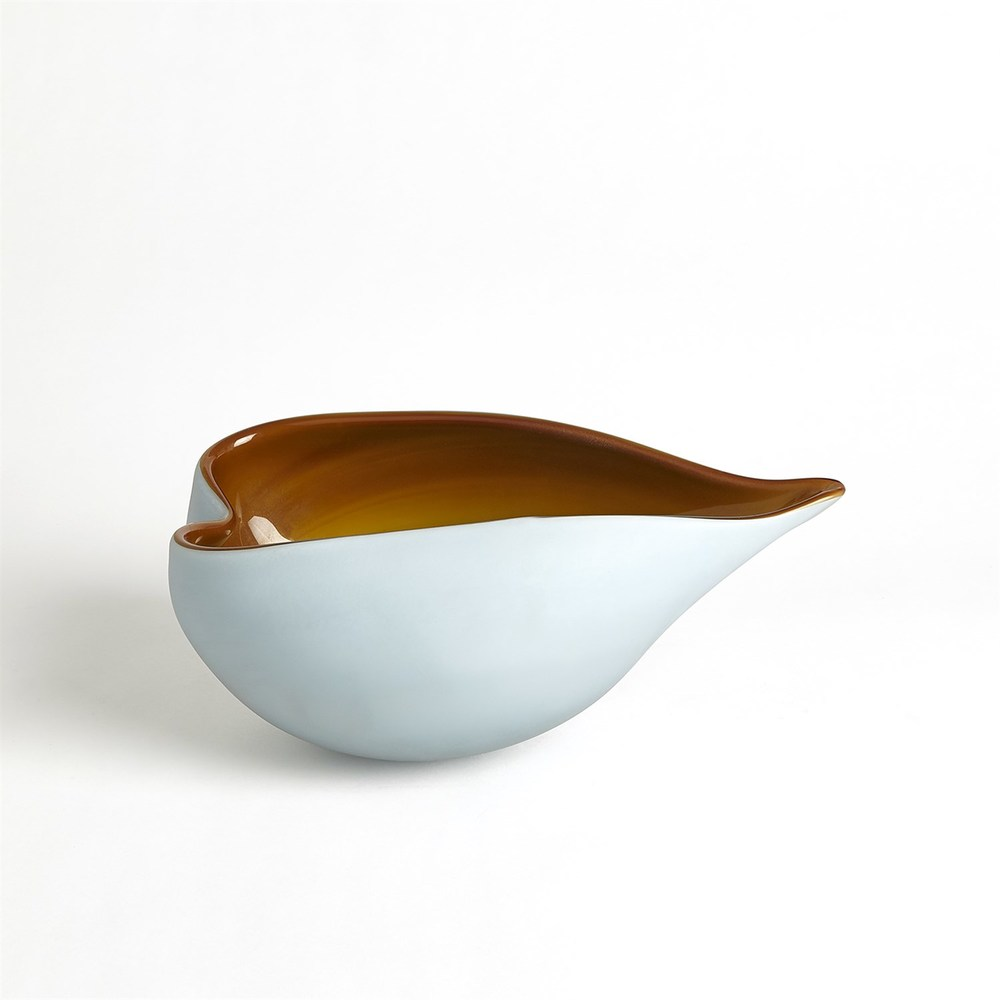 Global Views - Frosted Blue Bowl with Amber Casing, Small