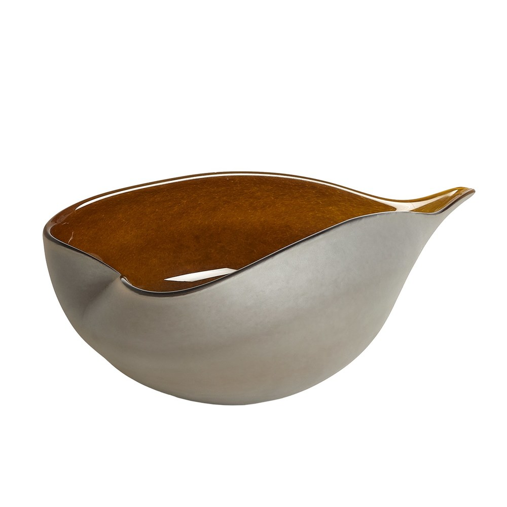Global Views - Frosted Grey Bowl with Amber Casing, Large