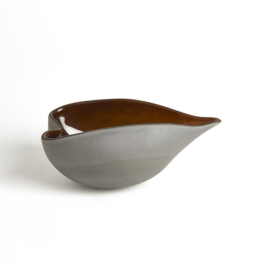 GLOBAL VIEWS - Frosted Grey Bowl with Amber Casing, Small