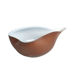 Thumbnail of Global Views - Frosted Amber Bowl with Blue Casing, Large