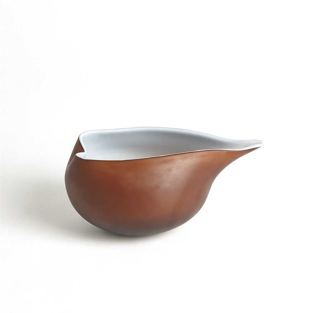 Global Views - Frosted Amber Bowl with Blue Casing, Small