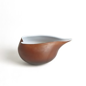 Thumbnail of Global Views - Frosted Amber Bowl with Blue Casing, Small