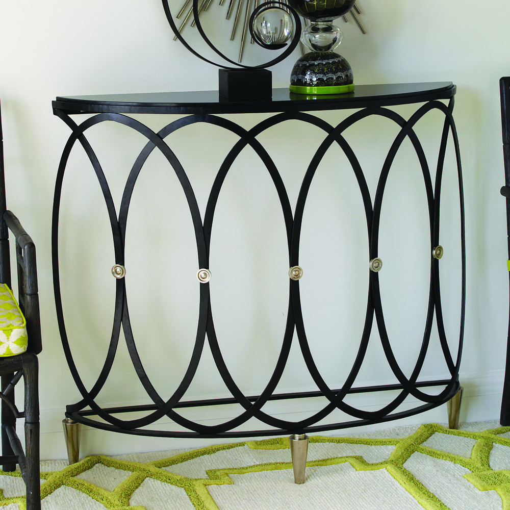Global Views - Ovoid Demilune Console Table