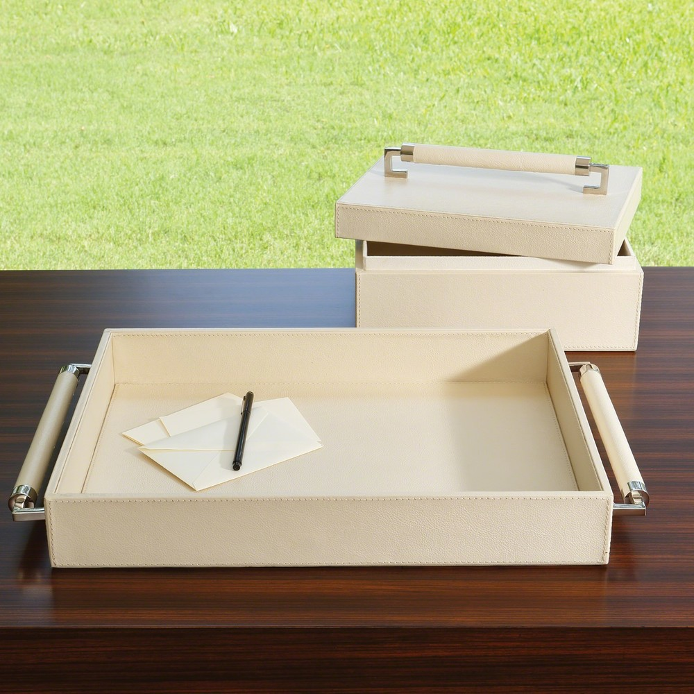 Global Views - Wrapped Leather Handle Box, Ivory