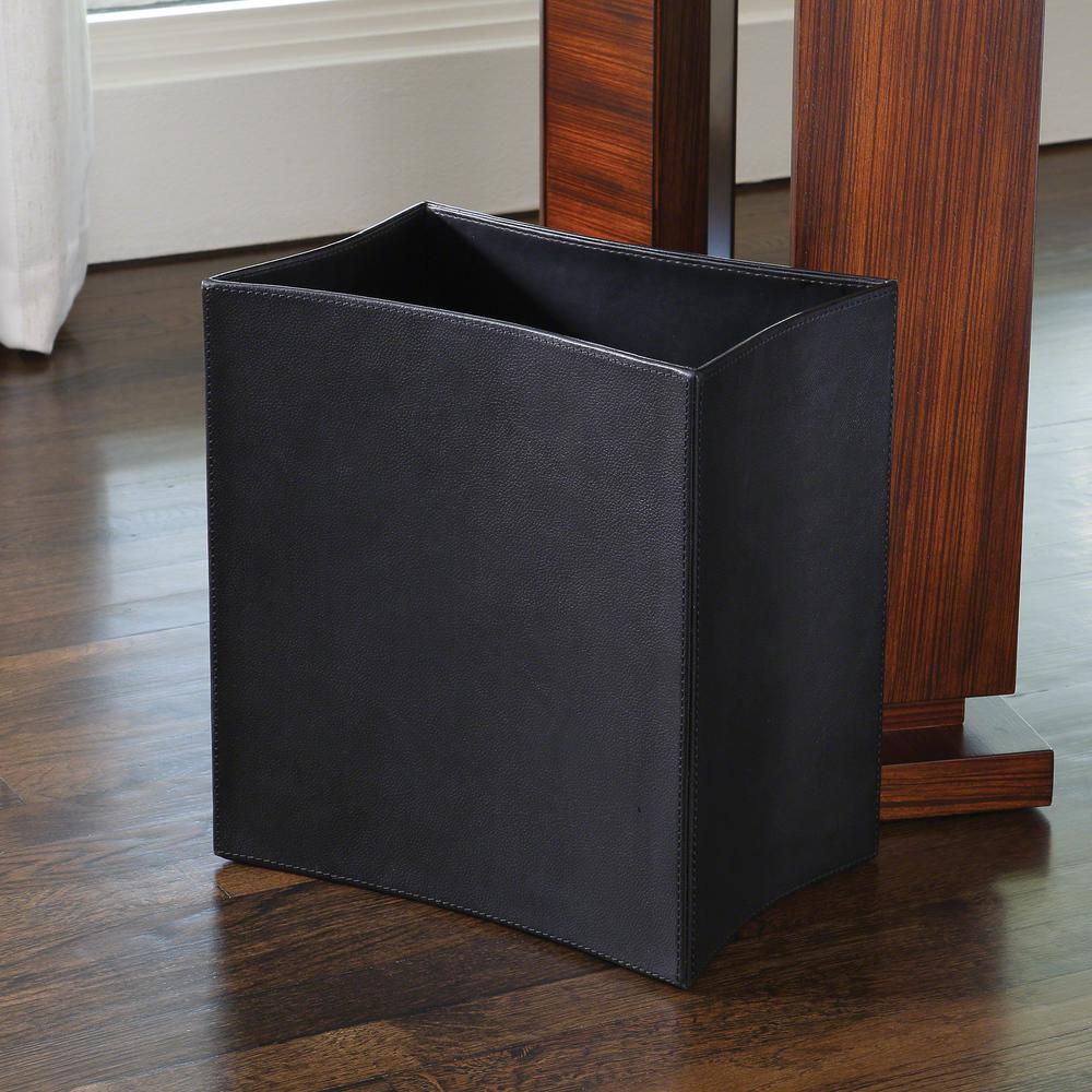 Global Views - Folded Leather Wastebasket, Black