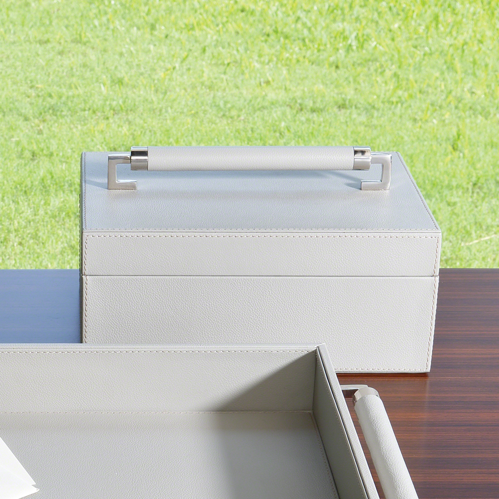 Global Views - Wrapped Leather Handle Box, Gray