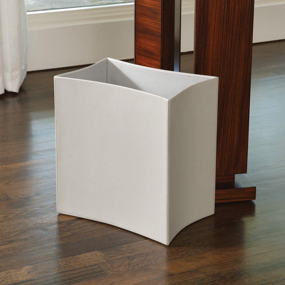 Global Views - Folded Leather Wastebasket, Gray