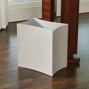 Thumbnail of Global Views - Folded Leather Wastebasket, Gray