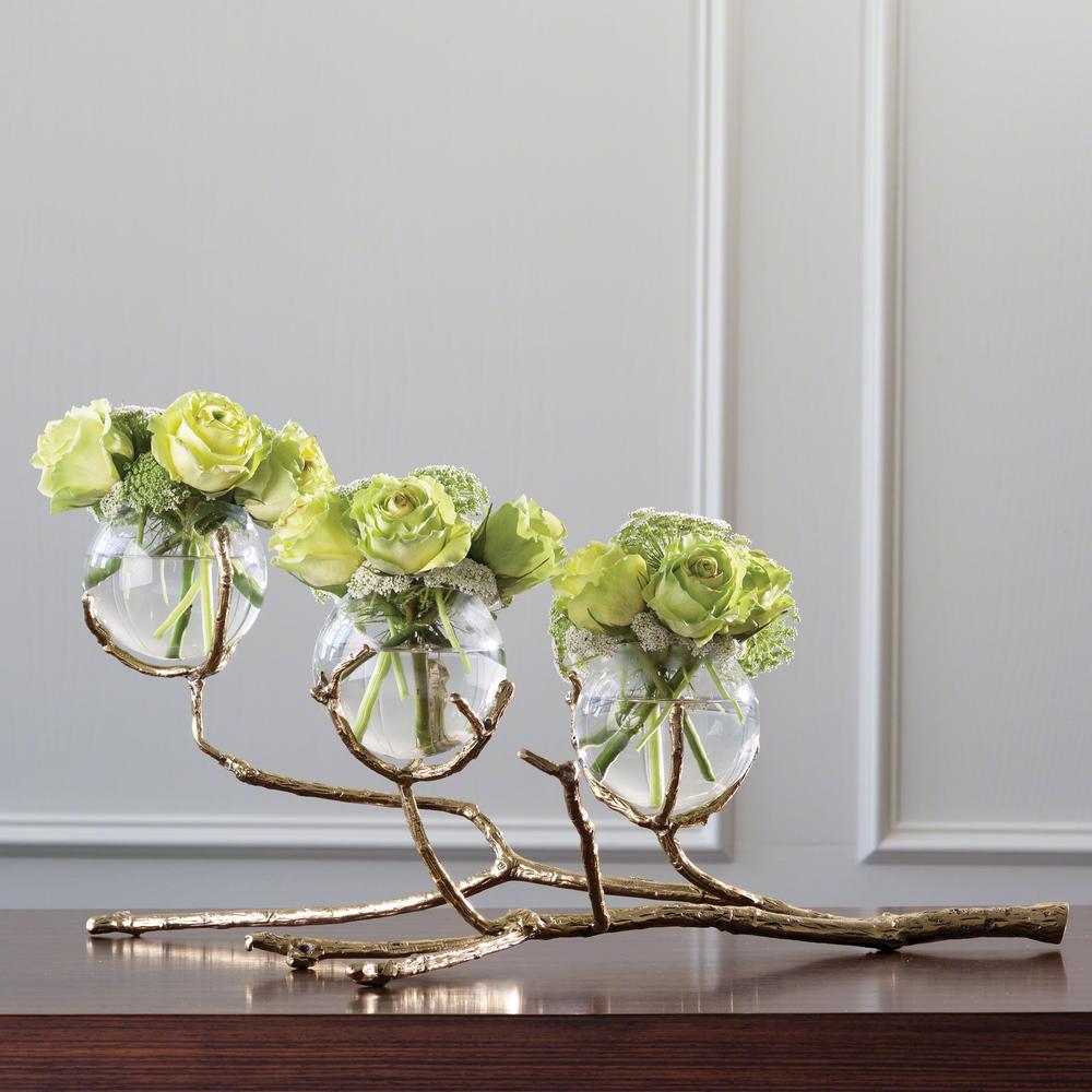 Global Views - Twig Three Vase Holder, Brass