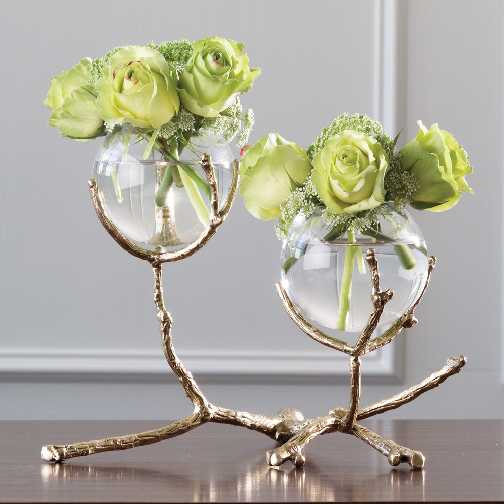Global Views - Twig Two Vase Holder, Brass