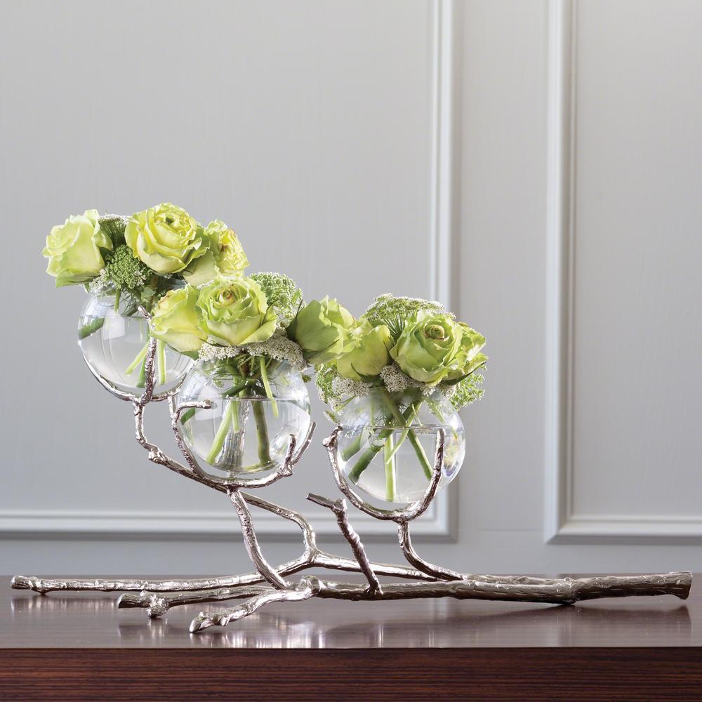 Global Views - Twig Three Vase Holder, Nickel