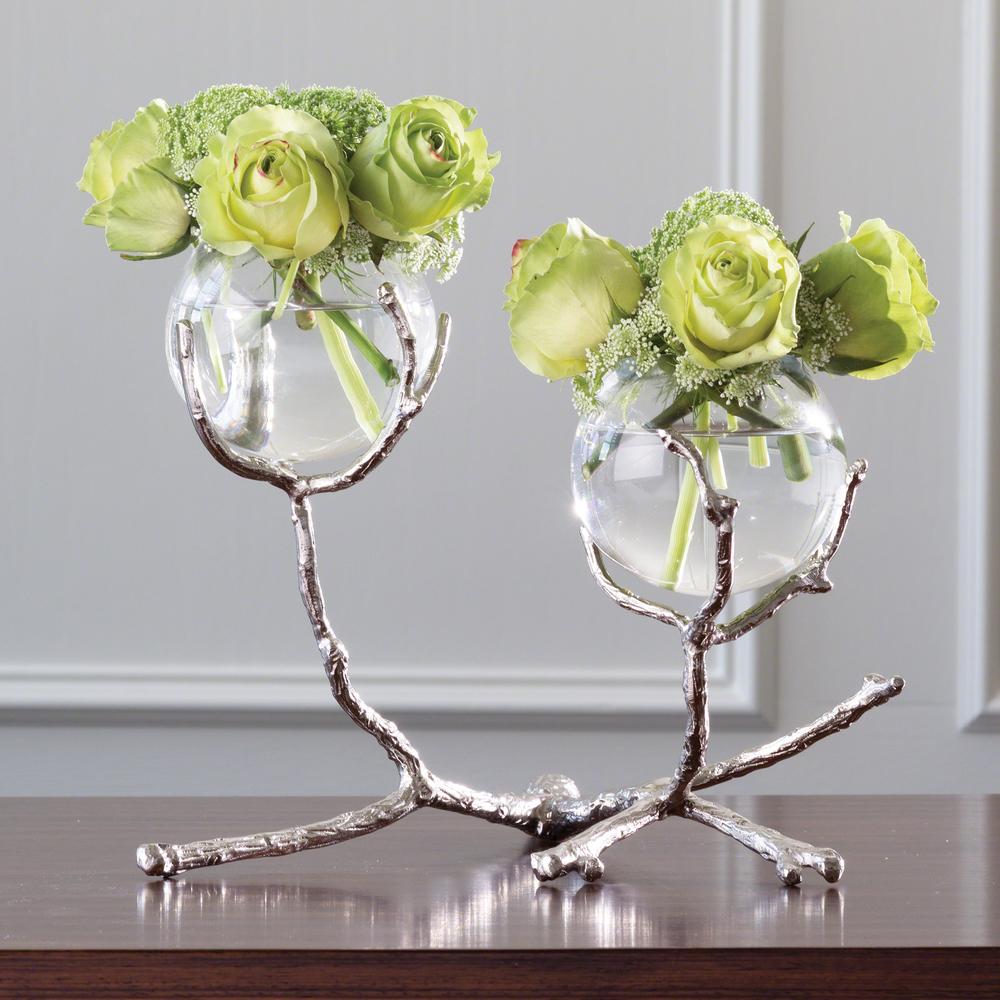 Twig Two Vase Holder, Nickel