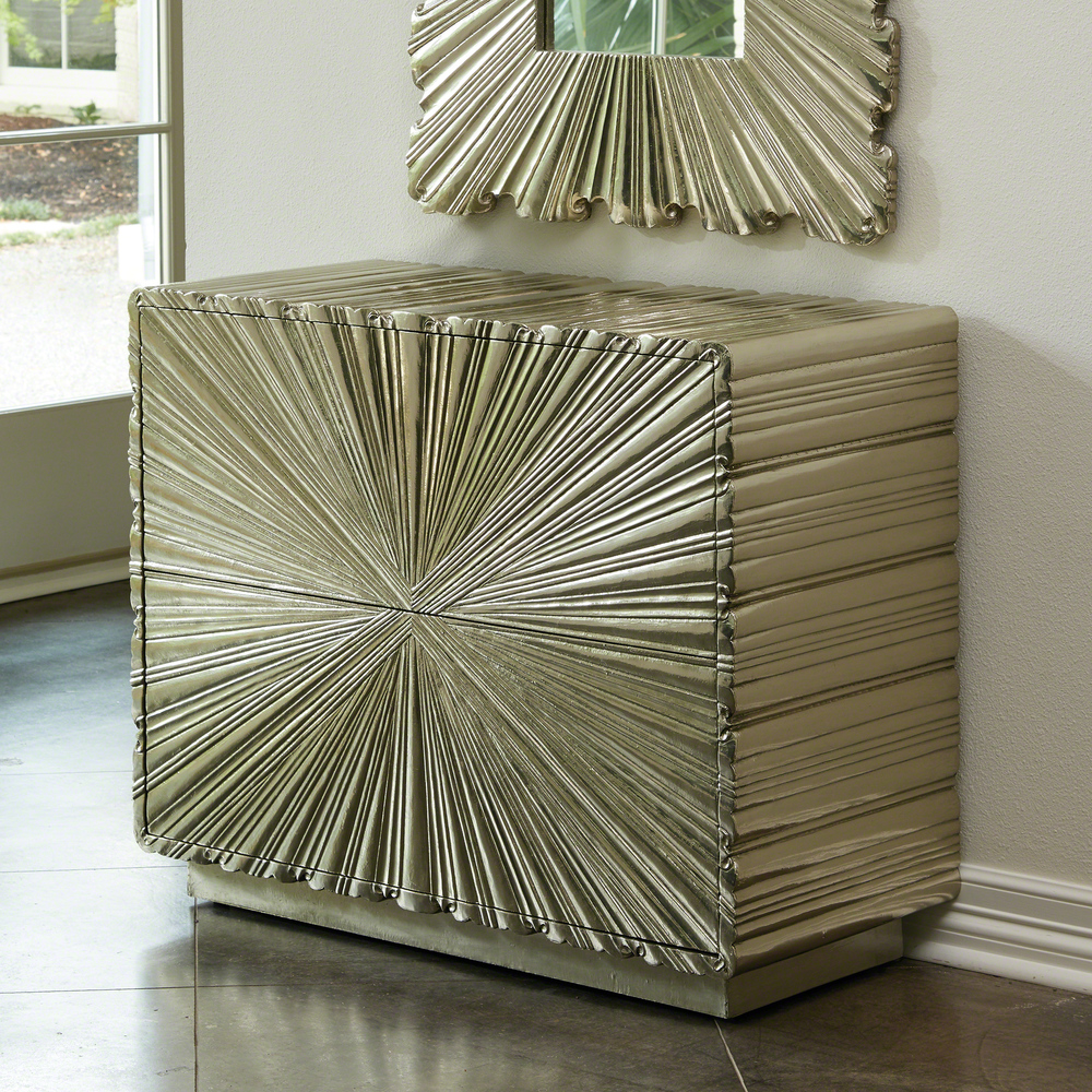 Global Views - Linen Fold Two Drawer Chest, Silver