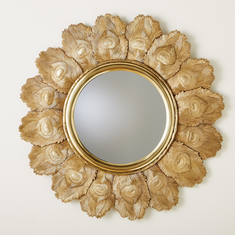 Global Views - Peacock Feather Mirror, Brass