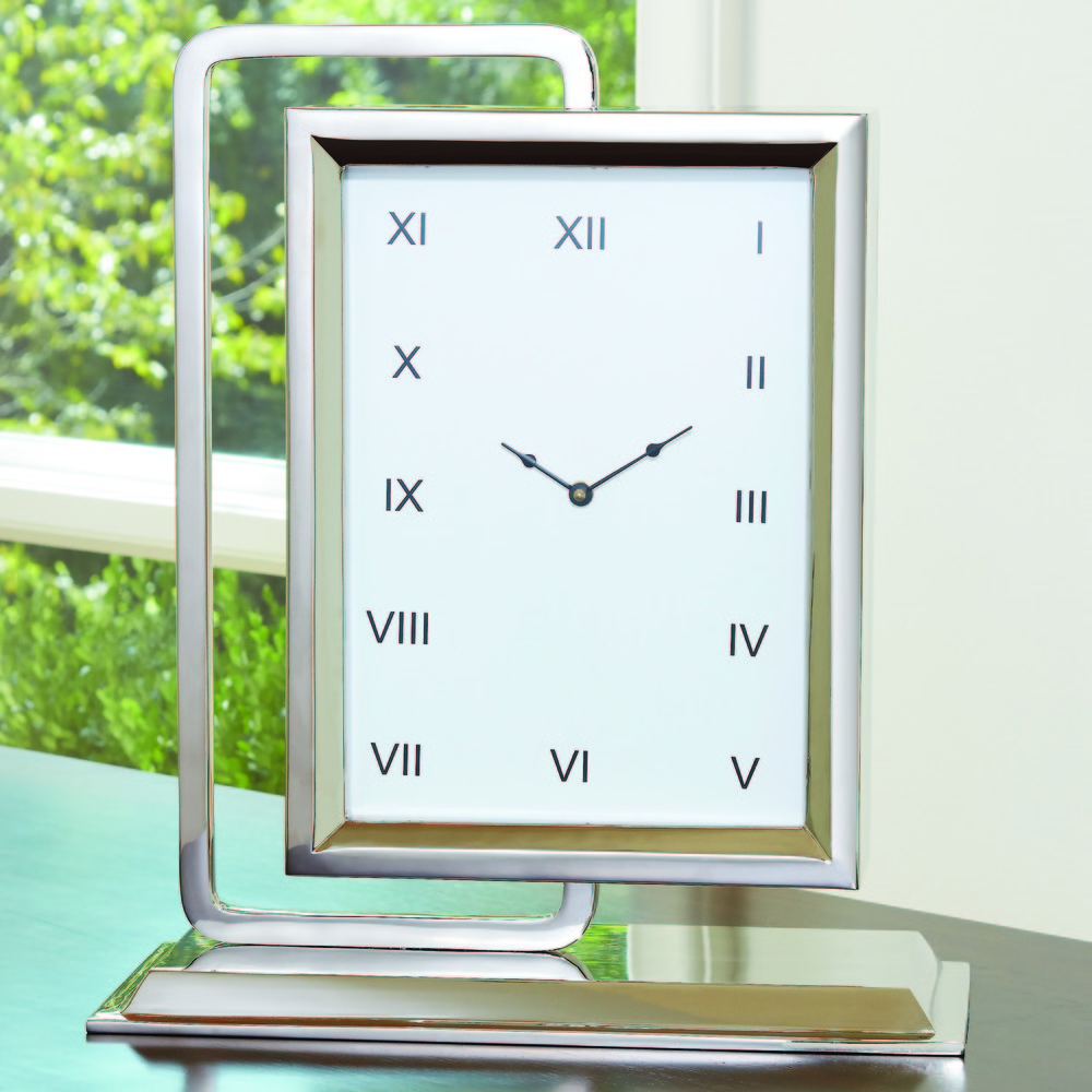 Global Views - Time to Reflect Clock, Antique Silver