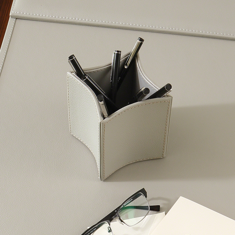 Global Views - Folded Leather Pencil Cup, Gray