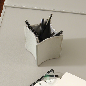 Thumbnail of Global Views - Folded Leather Pencil Cup, Gray