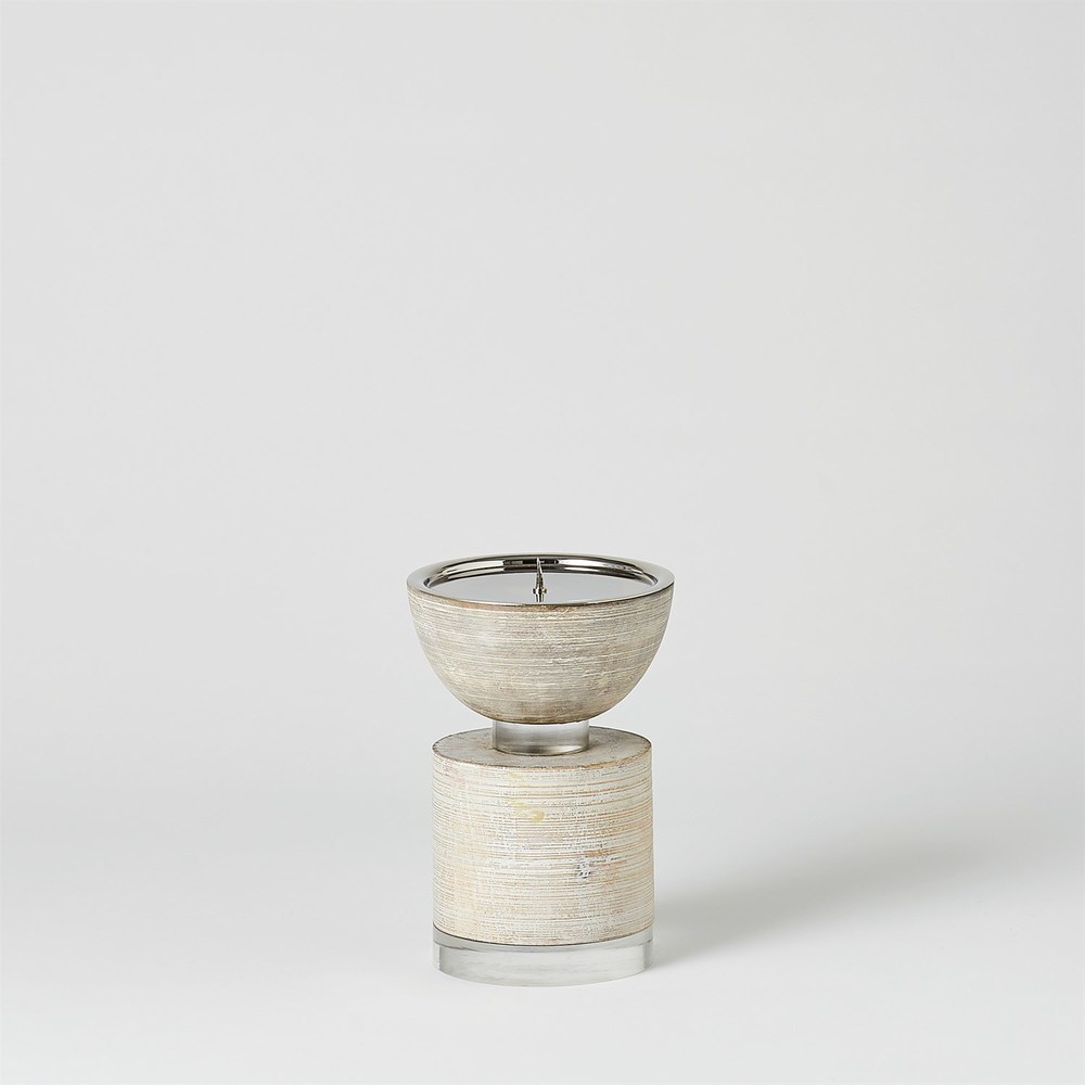 Global Views - Scratched Pillar Candle Holder