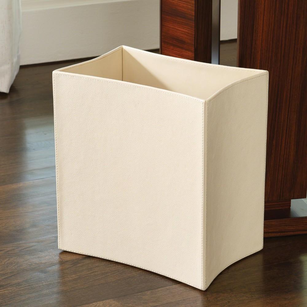 Global Views - Folded Leather Wastebasket