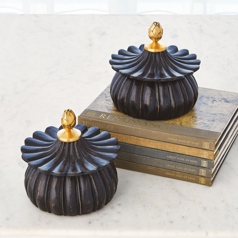 Global Views - Carved Lotus Box, Antique Black