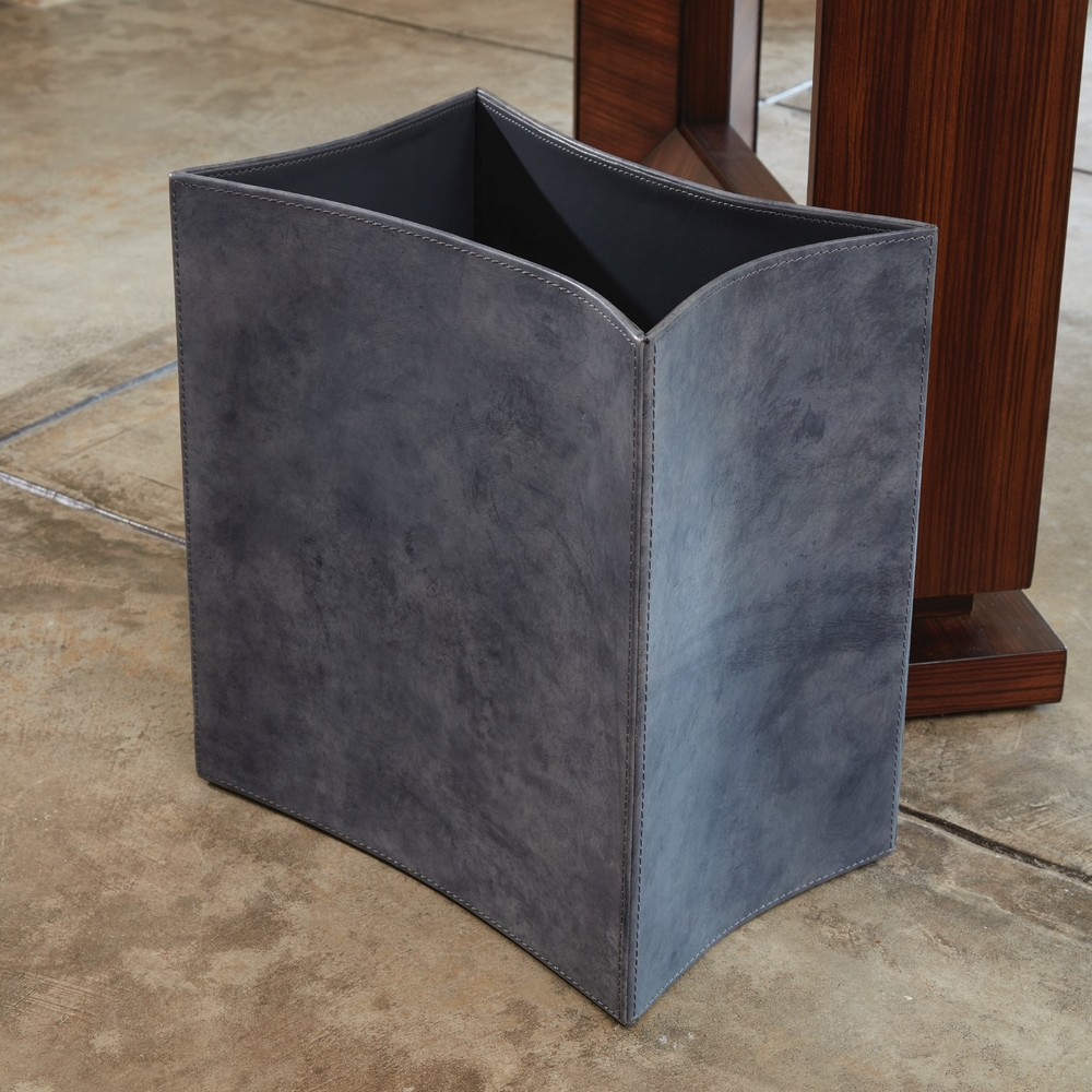 GLOBAL VIEWS - Folded Leather Wastebasket