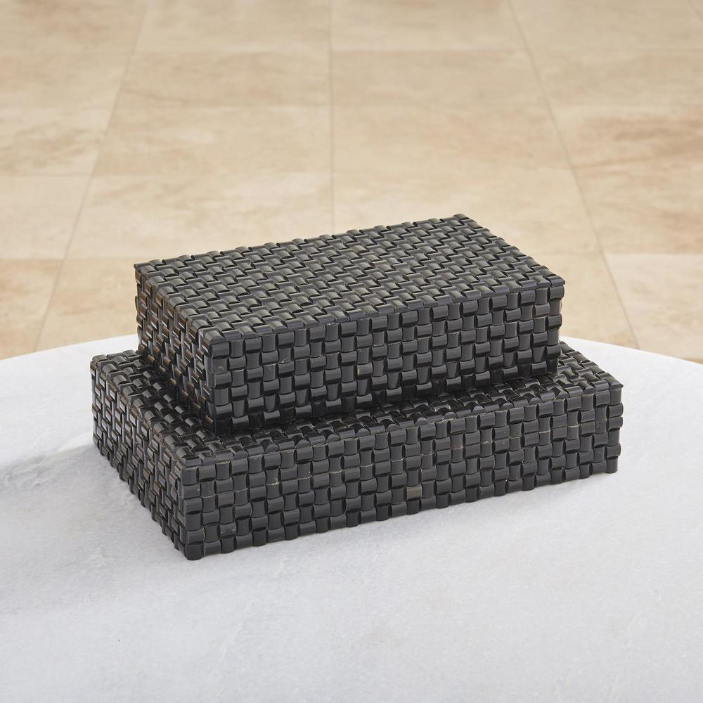 Global Views - Horn Box, Woven Black