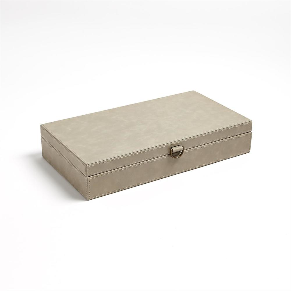 GLOBAL VIEWS - Marbled Leather D-Ring Box, Light Grey, Large