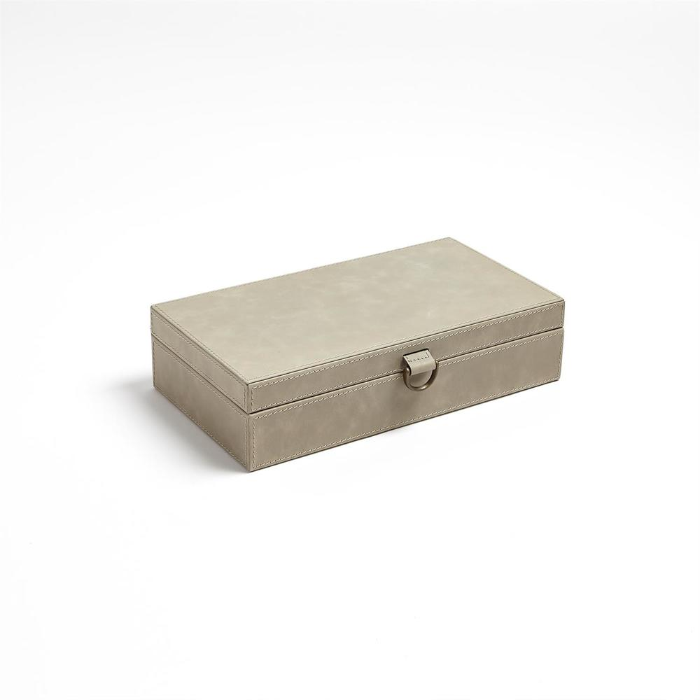 Global Views - Marbled Leather D-Ring Box, Light Grey, Medium