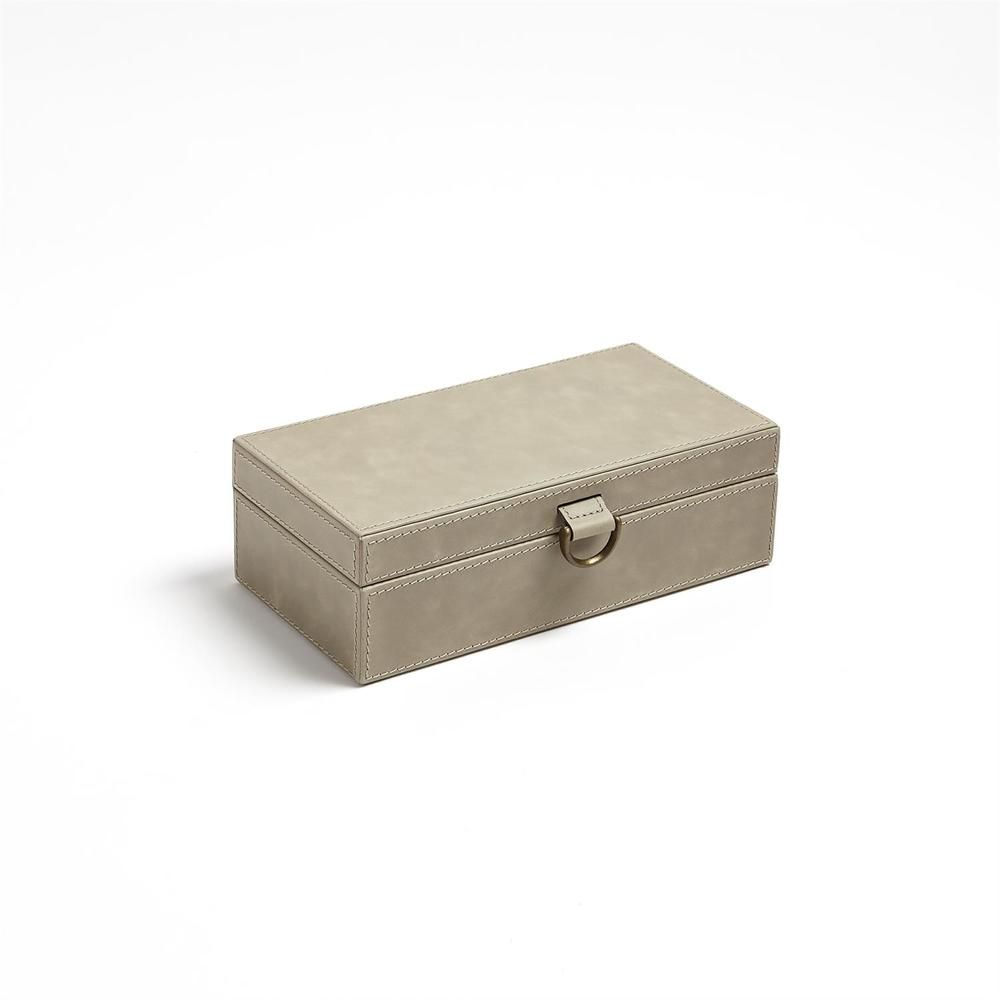 Global Views - Marbled Leather D-Ring Box, Light Grey, Small