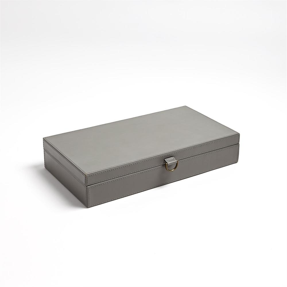 Global Views - Marbled Leather D-Ring Box, Dark Grey, Large