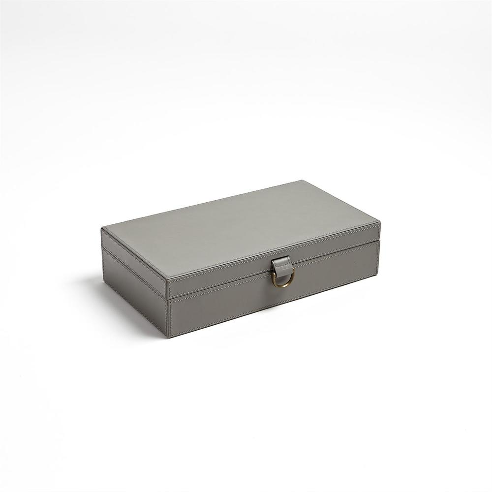 Global Views - Marbled Leather D-Ring Box, Dark Grey, Medium