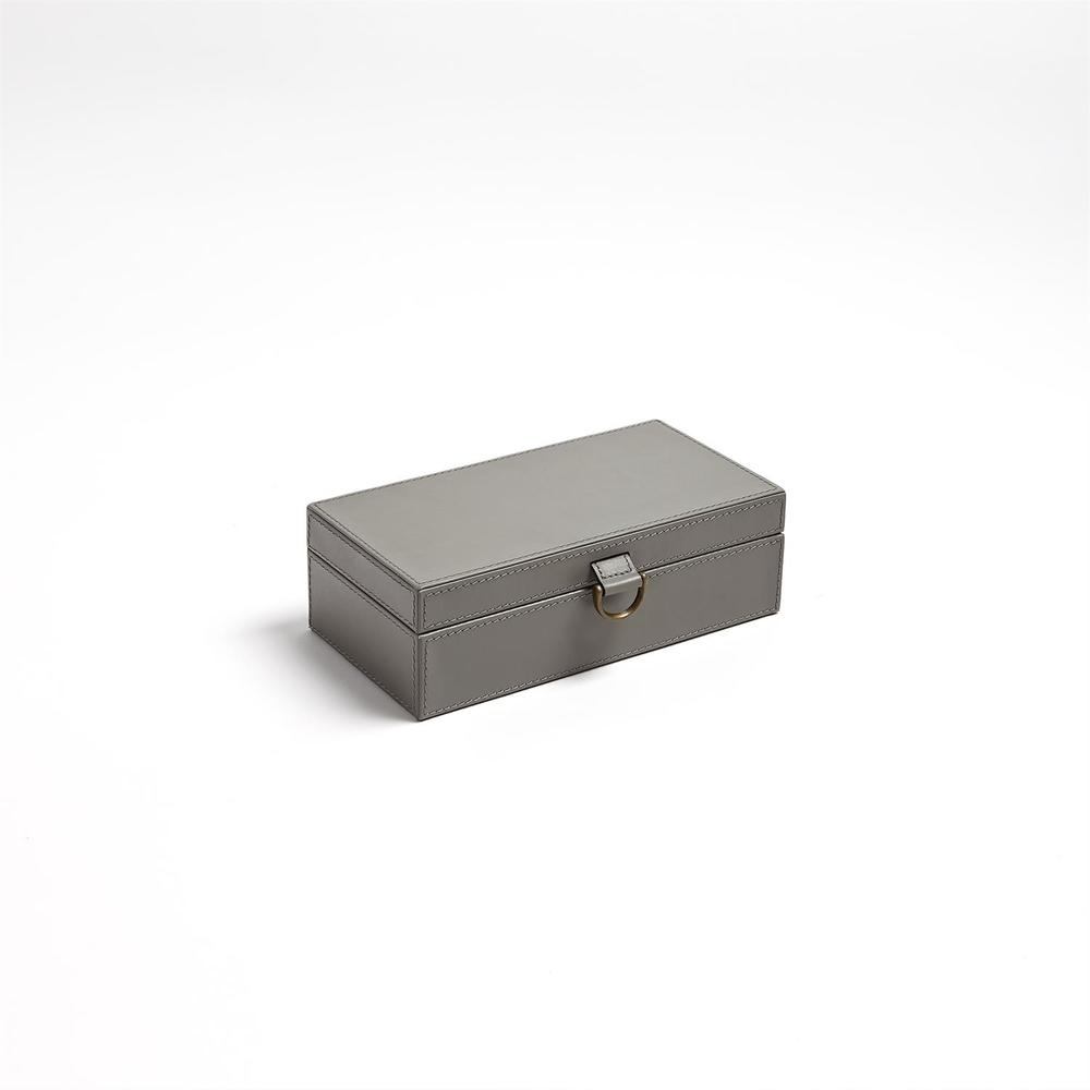 GLOBAL VIEWS - Marbled Leather D-Ring Box, Dark Grey, Small
