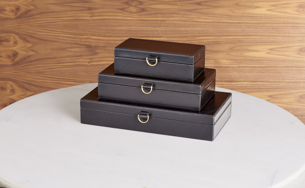 Global Views - Marbled Leather D-Ring Box, Black, Large