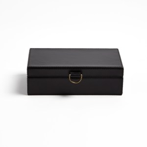 Thumbnail of Global Views - Marbled Leather D-Ring Box, Black, Small