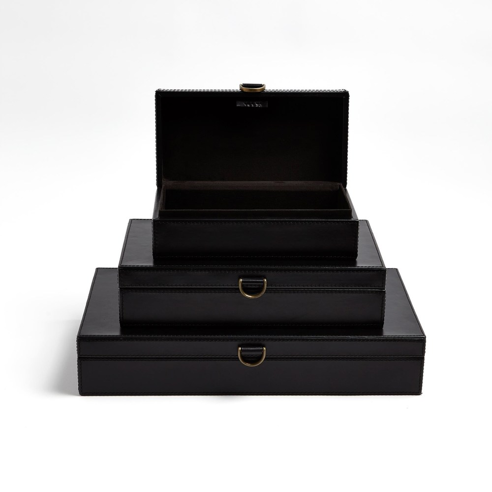 Global Views - Marbled Leather D-Ring Box, Black, Small
