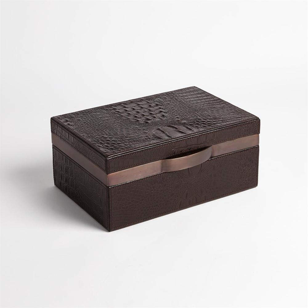 GLOBAL VIEWS - Croc Box, Chocolate, Large