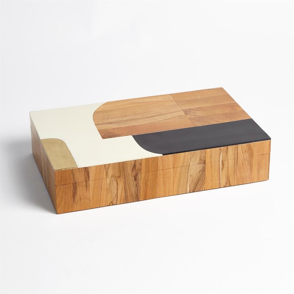Global Views - Wooden Inlaid Box, Black/Ivory, Large