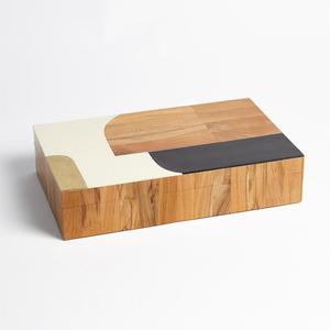 Thumbnail of Global Views - Wooden Inlaid Box, Black/Ivory, Large